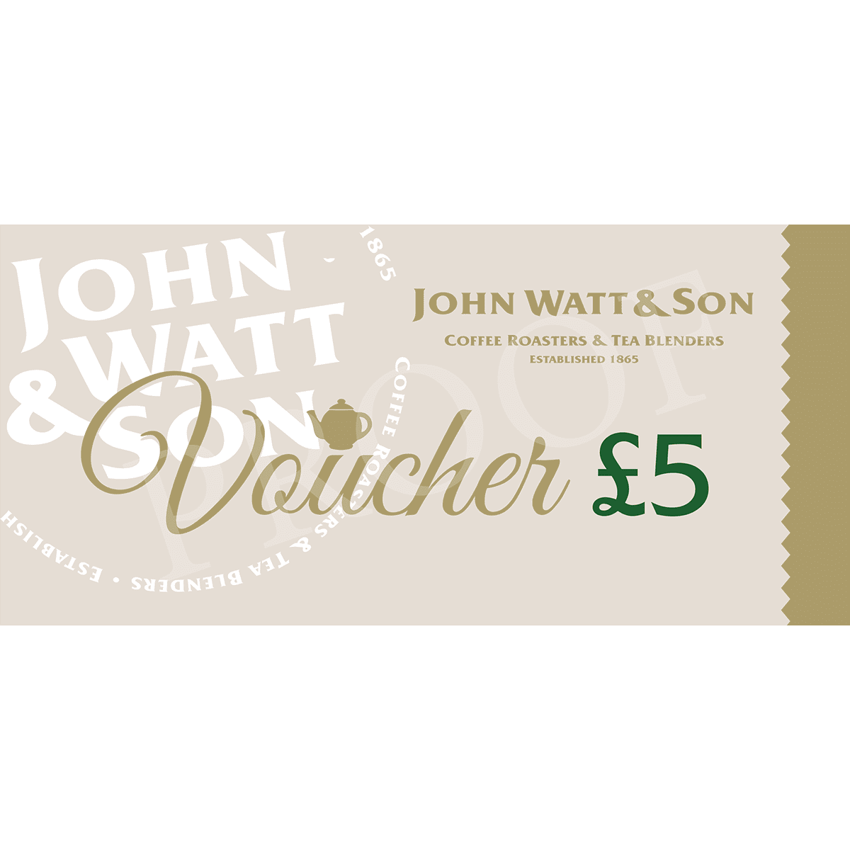 £5 gift voucher for coffee, tea, accessories and more